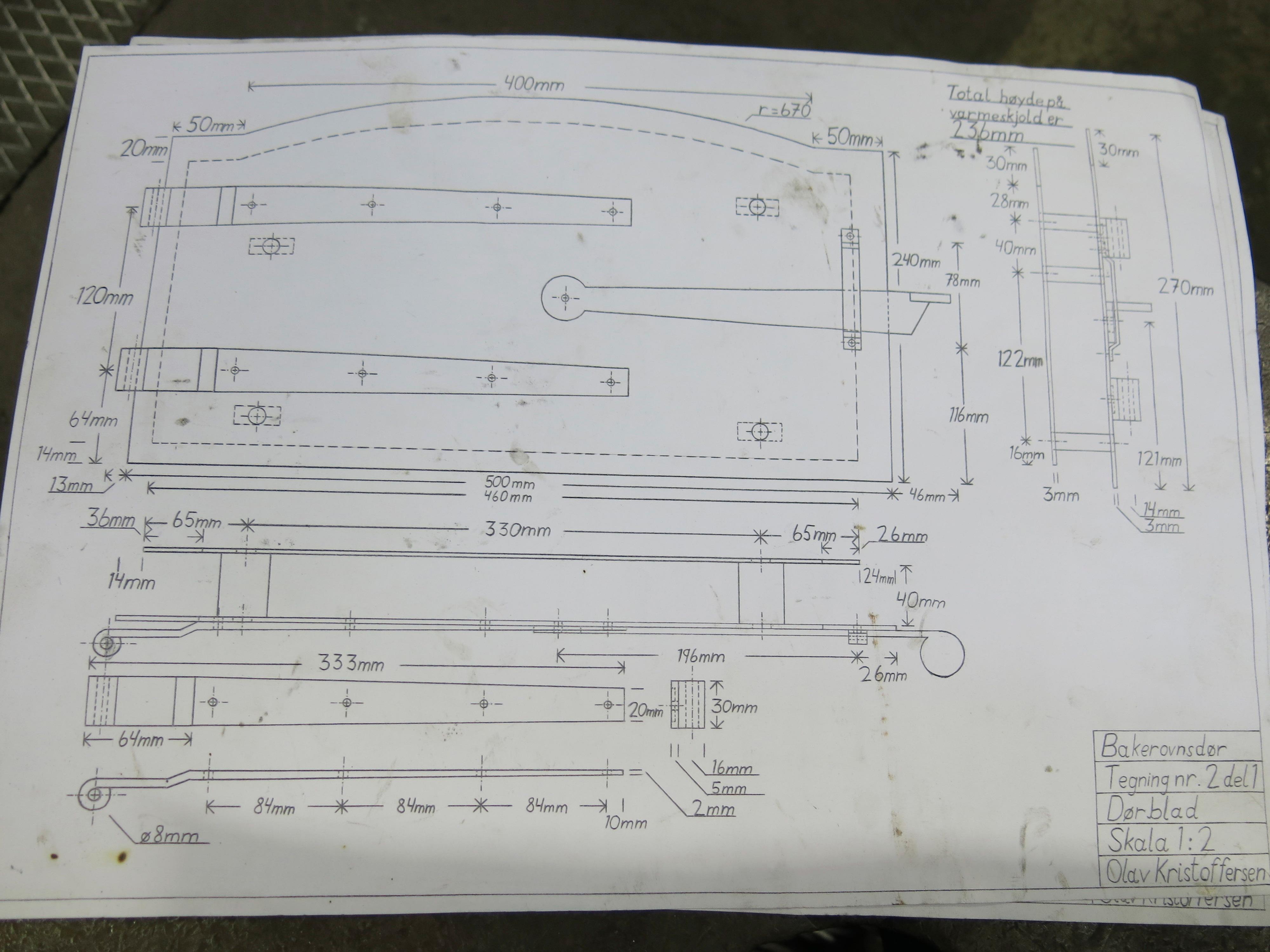 Teknisk tegning av bakerovnsdør
