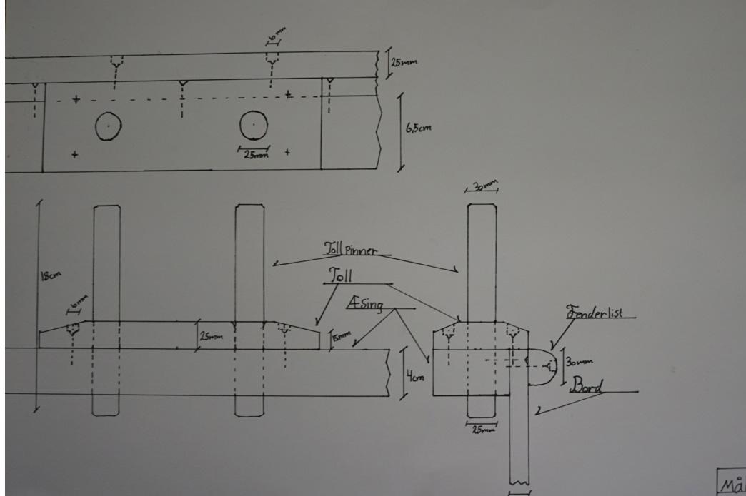 I planleggingsdelen til fagprøven i trebåtbyggerfaget skal det tegnes en arbeidstegning med detaljer som beskriver arbeidet